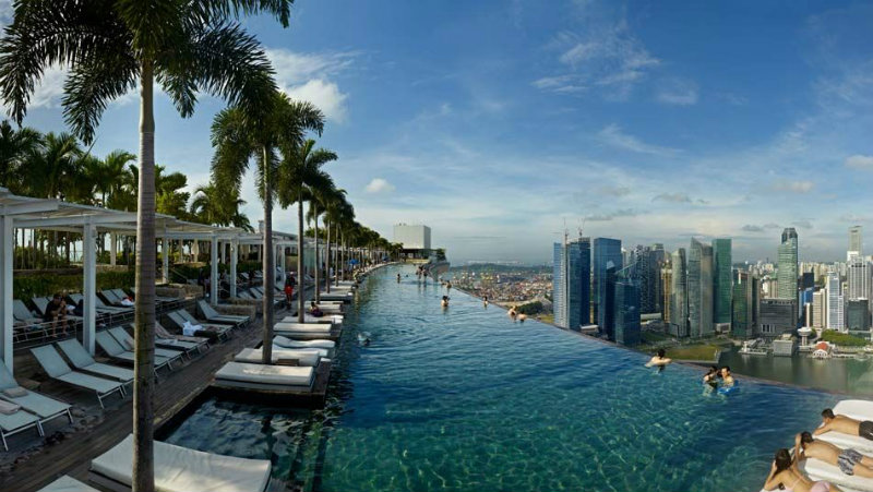 The Spectacular Beauty of Marina Bay Sand Hotel marina bay sands Celebrity Hotels: Outstanding Marina Bay Sands Singapore covetedition The Spectacular Beauty of Marina Bay Sand Hotel infinity rooftop pool on the hotels 57th floor where guests can swim and admire the singaporean skyline