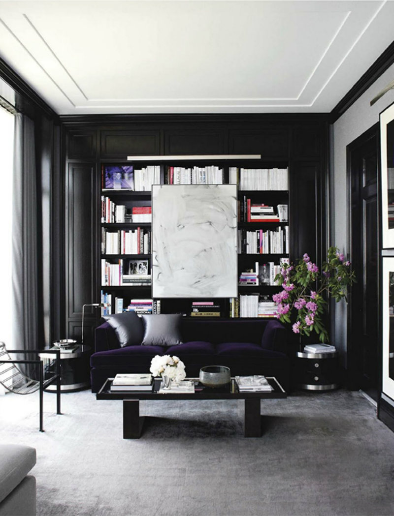 Black gold for a stylish living room covet edition for Gold and black living room ideas