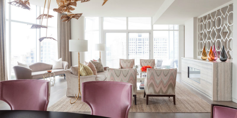 Museum Tower Apartment by Laura Lee Clark Interiors living room