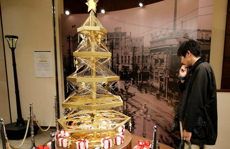 a gold Christmas tree valued at £1.4 million christmas tree Tokyo: a gold Christmas tree valued at £1.4 million a gold Christmas tree valued at   14