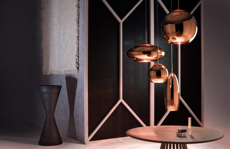 Tom Dixon New Collections Revealed At Milan Design Week milan design week Tom Dixon New Collections Revealed At Milan Design Week Copper Shade Round Canopy with Fan Table Natural Stack Vessel Medium Boucle Throw
