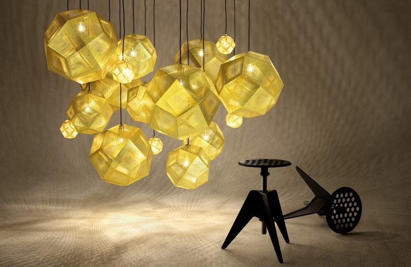 Tom Dixon New Collections Revealed At Milan Design Week milan design week Tom Dixon New Collections Revealed At Milan Design Week Etch MEGA chandelier with Screw Stools