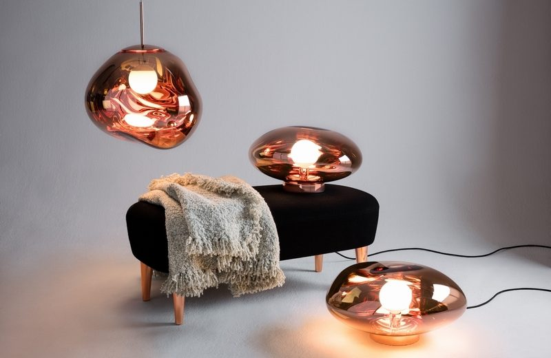 Tom Dixon New Collections Revealed At Milan Design Week milan design week Tom Dixon New Collections Revealed At Milan Design Week Melt Surface Copper with Melt Copper Pendant Wingback Long Ottoman Boucle Throw
