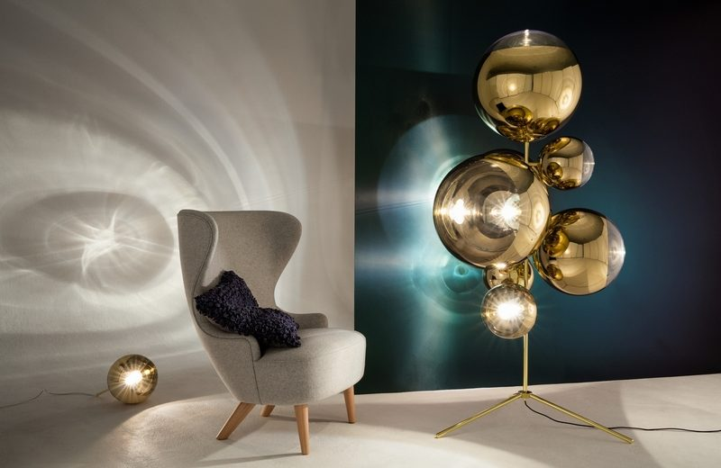 Tom Dixon New Collections Revealed At Milan Design Week milan design week Tom Dixon New Collections Revealed At Milan Design Week Mirrorball Standing Chandelier with Wingback Mirco Boucle Cusion