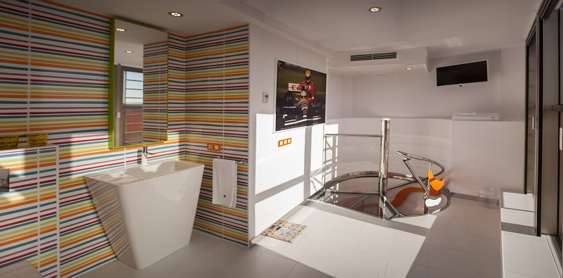 Enjoy a Stay at the Colourful Resotel - Racing Dreams. To see more news about incredible hotels, subscribe our newsletter right now! #resotelracingdreams #resotel #boutiquehotel #pizzapizza #designhotels #spanishhotels #europeanhotels #europeanvacations #moderninteriordesign Resotel - Racing Dreams Enjoy a Stay at the Colourful Resotel - Racing Dreams Enjoy a Stay at the Colourful Resotel Racing Dreams 33
