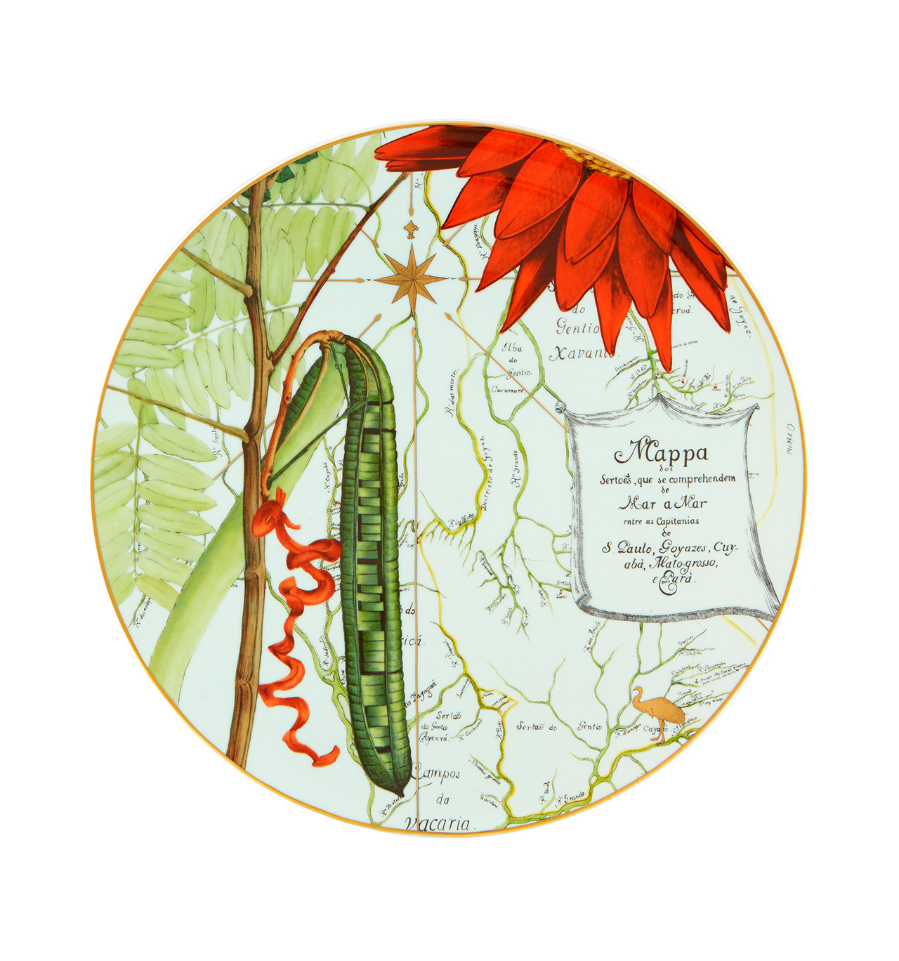 "Plate Marker Amazon. Inspired by the work ""Philosophical Journeys"" of the naturalist Alexandre Rodrigues Ferreira, and by the fauna, flora and people of the Amazon today, this collection, developed in partnership with Ecoarts Amazonia, brings together, for the first time, all the brands of the group Alegre , Casa Alegre and Bordallo Pinheiro."