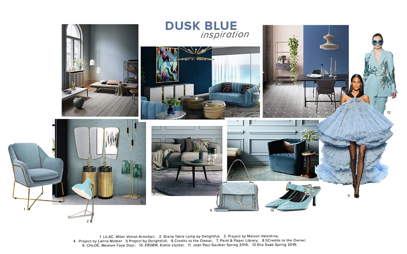 Dusk Blue Trend Color Scheme Moodboard Collection 1