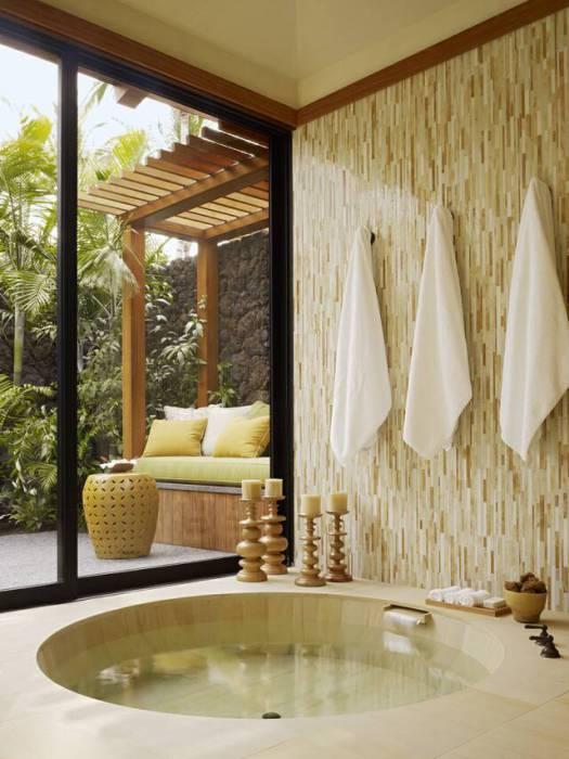Tropical Bathroom with Bath Below Floor Level