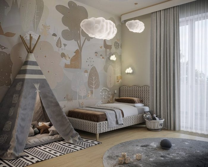 CLOUDY KIDS BEDROOM DESIGN WITH MODERN ELEMENTS