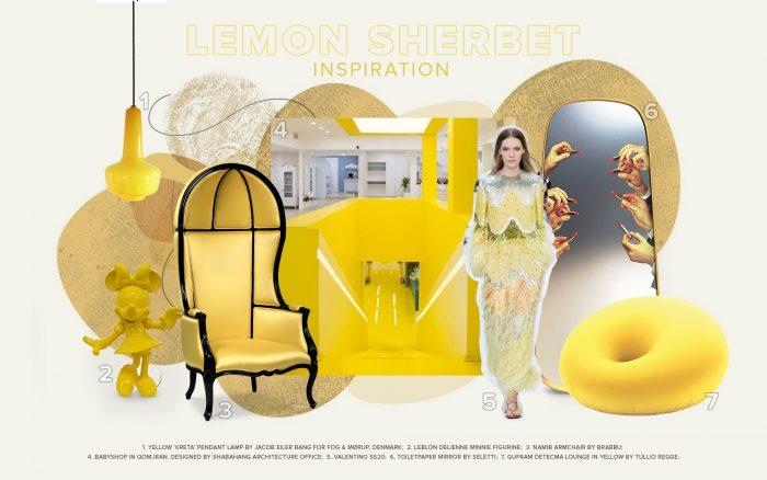 pantone color of the year Pantone Color of The Year 2021 in Celebrity Homes moodboard trends 2022 color lemon sherbet 1