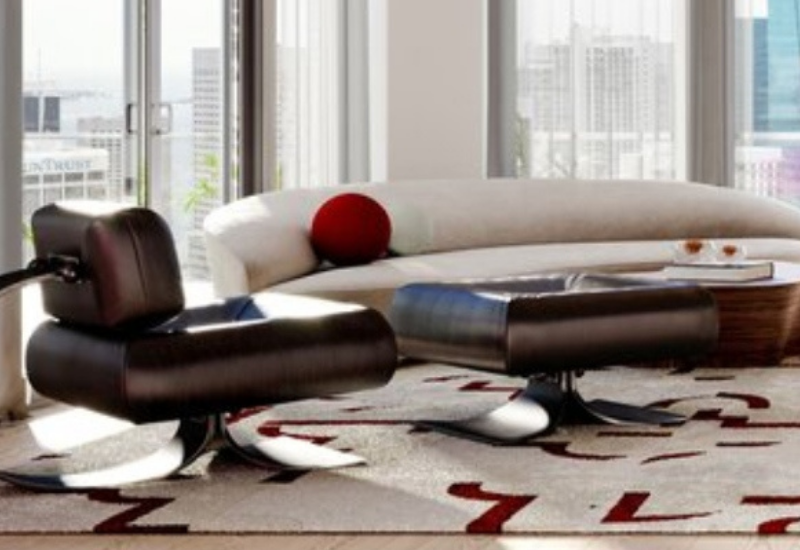 LIVING ROOM WITH CLEAN LINES AND RED DETAILS